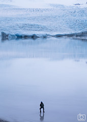 Against the glacier... (Arnar Bergur) Tags: blue winter snow man cold reflection ice water landscape frozen iceland glacier human fjallsrln arnarbergur