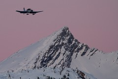 Aircraft landing in Courchevel (paulgmccabe) Tags: vacation mountain holiday snow ski france alps landscape snowboarding twilight scenery europe skiing aircraft resort valley montblanc courchevel