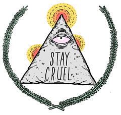 Stay Cruel II (Joey Howell) Tags: pink red orange eye art yellow design triangle all graphic skateboarding joey branches olive seeing stay cruel howell