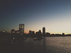 Boston Sunset from Longfellow Bridge (AnthonyTulliani) Tags: city cambridge sunset color water boston night cityscape charles iphone mobilephotography phoneography iphone5 iphoneography vscocam uploaded:by=flickrmobile flickriosapp:filter=nofilter