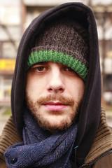 Milo a1 (Marko Gligorov) Tags: blue portrait urban man color colour guy green hat closeup scarf hair beard eyes friend cloudy serbia front local belgrade hari upclose facial beograd srbija gligorov gligorovrs