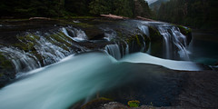 cascade (posthumus_cake (www.pinnaclephotography.net)) Tags: blue green nature water river landscape waterfall washington moss stream falls pacificnorthwest wa pnw 1740l lowerlewisfalls