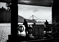 On The Waterfront (Gary Jones (HK)) Tags: china people white black monochrome boats hongkong waterfront photos chinese hong kong wan chinesepeople tsuenwan blackandwhitephotos tsuen 2013