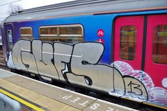 GUFS - Runner (JOHN19701970) Tags: uk england station train graffiti march artwork paint artist panel steel spray runners graff piece aerosol 13 runner hertfordshire stalbans crome herts graffititrain 2013 gufs