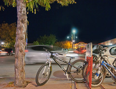 Mountain Bike at Moab (tramsteer) Tags: street usa night utah lowlight mountainbike moab yeti jumpbike foxforks tramsteer topazdenoise