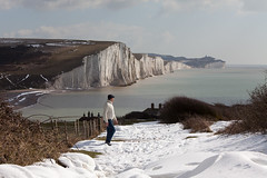 Seven Sisters coastline_04 (a roving eye) Tags: uk england snow man nature outside sussex freedom coast chalk alone escape cliffs single coastline solitary sevensisters southdowns paulmansfield sevensisterscountrypark arovingeye