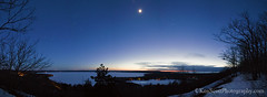 Moon'ed ... over Big Glen Lake (Ken Scott) Tags: winter panorama usa moon stars march twilight view michigan lakemichigan greatlakes freshwater voted glenarbor leelanau sleepingbearbay glenlake fisherlake 2013 sleepingbearpoint sbdnl sleepingbeardunenationallakeshore millerhilloverlook mostbeautifulplaceinamerica