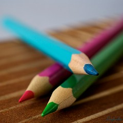 Pink/blue/green (Caropaulus) Tags: wood macro colors pencils 50mm colours couleurs crayons bois extensiontube macromondays