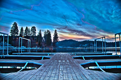 The One with the Dock at the Lake (J*Phillips) Tags: california sunset sky lake color photoshop canon landscape spring backgrounds hdr lightroom lakearrowhead 50d