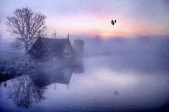 misty March morning (BarryKelly) Tags: ireland sun house lake tree water birds river boat rise kildare fotocompetition fotocompetitionbronze