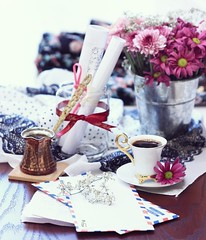 Miss You,, (HadeelAlhamid) Tags: pink flowers coffee rose photography letter share turkish   hadeel       alhamid
