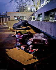 Homeless, under Waterloo Bridge (frederic jon) Tags: nightphotography london westminster homeless booze riverthames embankment waterloobridge sleepingrough