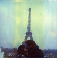 (theonlymagicleftisart) Tags: paris love polaroid sx70 couple eiffeltower expired timezero cityoflights impossibleproject