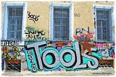 Tools! (Eleanna Kounoupa (Melissa)) Tags: blue school windows graffiti athens greece