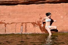 Girl on Red Rocks (kat.berry) Tags: red arizona rock creek oak desert sedona canyon sliderockstatepark