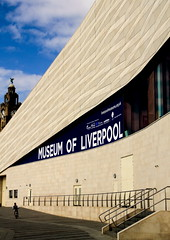 Museum of Liverpool and the Liver Building (Bruce Poole) Tags: urban lines museum architecture liverpool pier head curves august musee diagonal form pierhead oldandnew merseyside liverbuilding 2011 scouse liverpoolmuseum museedeliverpool