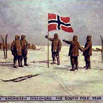 """<b>Roald Amundsen Discovers the South Pole Year 1911</b><br/> Biorn, #190, Oil, Painting<a href=""""http://farm9.static.flickr.com/8384/8652930578_5684a73c39_o.jpg"""" title=""""High res"""">∝</a>"""