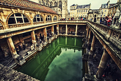 Roman History at Bath, United Kingdom (` Toshio ') Tags: england people rome building history church pool girl abbey architecture bath europe european roman unitedkingdom drawing somerset tourists historic spa europeanunion hotsprings romanbath toshio cityofbath