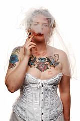Blowing Smoke (Studio d'Xavier) Tags: portrait bride lgbt bridal equalrights marriageequality strobist thewaywardbride