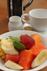 Healthy Breakfasts. (Triple_B_Photography) Tags: bali food coffee breakfast indonesia yummy lemon strawberry papaya bowl banana delicious lime pawpaw kopi elementsorganizer