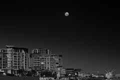 (the-name-was-taken) Tags: city longexposure sunset bw panorama moon black water night canon reflections river blackwhite airport long exposure australia brisbane nd density cokinfilter 6d neutral 24105 cokin 24105l neutraldensity cokinfilters