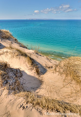 Pyramid Point ... island view (Ken Scott) Tags: usa spring michigan lakemichigan greatlakes april freshwater voted northmanitouisland leelanau thecrib 45thparallel blueskyday backpage 2013 fhdr sbdnl sleepingbeardunenationallakeshore mostbeautifulplaceinamerica viewfrompyramidpoint