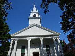 front of Congregational church, Wiscasset, Maine (Martin LaBar) Tags: maine lincolncounty wiscasset church congregationalchurch steeple