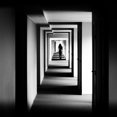 (Svein Nordrum) Tags: square squareformat bw noir nero corridor black white light vanishingpoint silhouette geometry perspective explore explored