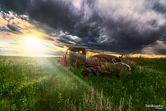 Drive-In (Pat Kavanagh) Tags: drivein prairies prairie western west canada alberta sunrise sunset landscape patrickkavanaghca heritage rusted rusting abandoned colour color taber