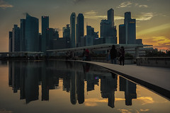 Skyline Reflecitons (elenaleong) Tags: mbs reflections sundown city skyline skyscrapers singapore elenaleong marinabay sunset