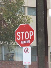 Stop Fishing (RS 1990) Tags: adelaide southaustralia friday 19th august 2016 stop sign label wayville goodwoodrd