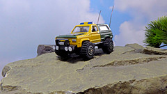 Policing The Borderlands. (ManOfYorkshire) Tags: border patrol crime unit chevy chevrolet blazer truck 4x4 4wheeldrive matchbox diecast model toy 164 scale national ranger policing watching intelligence law order bullbar winch lights wheels modified detailed accessories rock diorama aerials fitted reapint repainted livery rangers laworder 911