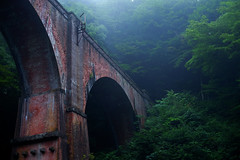 Mysterious (sonica@2006) Tags: mysterious this bridge which was built before 100 years from now it very takes fog japan gunma ysui meganebashi xm1 xf35mm fujifilm fujinon