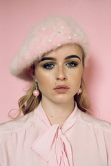 Pinky (J-Melody) Tags: 35mm youth image indie photo photography portrait pink people pastel picture light grain girl film fashion face hat dream style styling analog analouge canon color colour beauty model