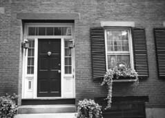 Untitled (jenny_guo) Tags: leica m monochrome monochrom blackandwhite door window house home building brick boston massachusetts 24mm summilux 1424 asph f14