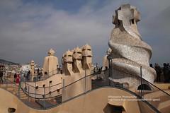 Barcelona, La Pedrera, rooftop (blauepics) Tags: spain spanien espaa katalonien catalunya catalua city stadt unesco world heritage site weltkulturerbe la pedrera casa mil gaudi antoni gaud house haus architecture architektur rooftop dach