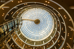 Skylight Dome Karlspassagen Stuttgart Shopping Mall Interior (HunterBliss) Tags: abstract architectural architecture blue building ceiling center circle circular city clouds columns detail dome floor floors geometric glass gold indoor indoors interior karlspassagen landmark lights mall morning pattern shop shopping sky spiral structure stuttgart tourism travel