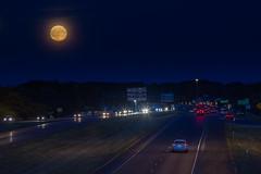 Harvest Moon over 590 (-dangler) Tags: rochester ny wny fullmoon harvestmoon monroecounty 590 brightonny newyork 585 sky outdoors outside evening summer traffic headlights cars dandangler