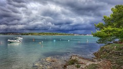 Clouds over Medulin bay (Ales Kladnik) Tags: sea clouds boats tree drama view summer holiday