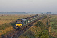 68024 approaches Stracey Arms working 2P06 0652 Norwich - Great Yarmouth 14/9/2016 (Paul-Green) Tags: class 68 68024 68004 vossloh eurolight diesel engine loco locomotive aga abellio greater anglia drs direct rail services flickr trains railways passenger service 0652 norwich gt great yarmouth sep september 2016 uk gb norfolk stracey arms off a47 bridge autumn morning early sun rising outdoors misty first good light and stock lchs canon 7d mk2 mark ii 2p06