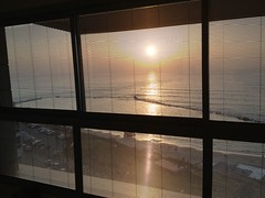 Sunset from window of Maison Lisbona, Bat Yam (dlisbona) Tags: sea vacation holiday vacances israel telaviv view apartment flat rental location appartement luxury seaview batyam louer apartement sejour