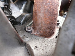 Rusty 2cv exhaust manifold and clamps (C.Elston) Tags: car clamp bay rust citroen engine violet rusty heat 2cv nut leak exhaust gasket clamps manifold seized 2cv6 exchanger