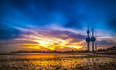 Kuwait Towers Sunrise (Mishal Almesfer) Tags: sunset color colour colors sunrise lens landscape landscapes amazon nikon colorful 4 tripod extreme towers pro kuwait wacom afs sandisk q8 dx lightroom 580 intuos slik mishal kuwaittowers  d90  f3545  adorama   1024mm  almesfer