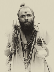 Portrait of a Wandering Sadhu (vytautas ambrazas) Tags: portrait india swami rajasthan sadhu 43 holyman fourthirds sannyasin sannyasi konicahexanon40mmf18 olympuse3 wanderingsadhu dasnami