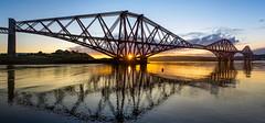 Forth Rail Bridge (michaelwphotography) Tags: uk bridge sky sun beach water clouds train sunrise river scotland edinburgh forth anchor rise