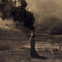 wild birds burning (brookeshaden) Tags: storm abandoned fashion birds fairytale design whimsy desert surrealism smoke feathers evil barren blackbirds fineartphotography talons blacksmoke conceptualphotography darkfairytale michellehebert brookeshaden taylorackerman
