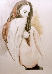 WIP - Nude - Crayon/pencil (badgerfrombath) Tags: art female pencil nude sketch drawing crayon