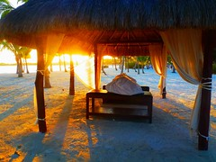 A Riviera Maya beach massage palapa (gazebo) at s