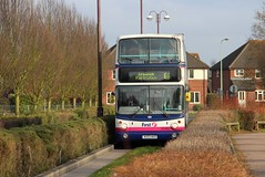 First (Norfolk & Suffolk) 32486, Transbus bodied Volvo, Kesgrave Guided Busway, 28th. February 2013. (Crewcastrian) Tags: bus volvo first transbus kesgrave guidedbusway