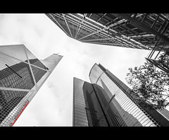 Sky is the Limit (PrK |photography) Tags: building architecture skyscraper canon buildings hongkong sigma wideangle bankofchinatower famousbuildings skyabove cheungkongcenter hongkongbuildings citibankplaza